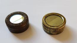 2 Boites Cylindriques En Métal Avec Miroir ( XIX Siècles ? - Boîtes/Coffrets
