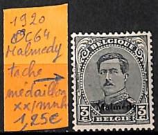 [830801]TB//**/Mnh-Belgique 1920 - OC64, Occupation, Malmedy, Tache, Médaillon, Familles Royales, Rois - 1915-1920 Alberto I
