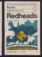 Australia Space Weltraum Espace: Redheads Matchbox Labels: Vanguard 1  USA; Military Satellite - Boites D'allumettes - Etiquettes