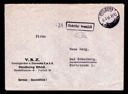 """All.Bes. Freistempel Brief STOLBERG (RHEINL) - Bad Godesberg - 16.7.46  - Mit Violettem """"Gebühr Bezahlt""""-Stempel - Gemeinschaftsausgaben"""