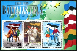 Letonia 1999 Hojas Bloque 12 ** 10 Aniersario Via Báltica - Lettonie