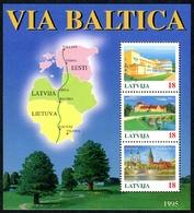 Letonia 1995 Hojas Bloque 4 ** Vía Báltica. Paisajes Y Ciudades - Lettonie