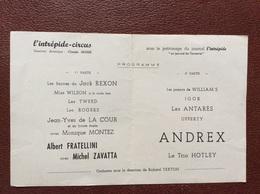 PROGRAMME CIRQUE  L'INTRÉPIDE CIRCUS  Albert Fratellini  Michel Zavatta Andrex  JOURNAL L'INTREPIDE  Annee 1956 - Programmi