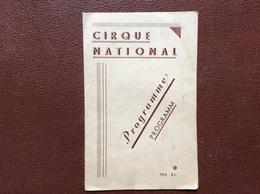 PROGRAMME CIRQUE  CIRQUE NATIONAL  Belgique  ANNEE 1942 - Programmi