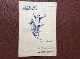 PROGRAMME CIRQUE  CIRQUE BOSTOK  Fete Enfantine Du 15 Janvier 1956  VINS DU POSTILLON - Programmi