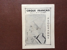PROGRAMME CIRQUE  CIRQUE FRANÇAIS  Annee 1942 - Programmi