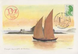 Carte  FRANCE   Rassemblement  Des  Vieilles  Coques   DOUARNENEZ   1986 - Cachets Commémoratifs