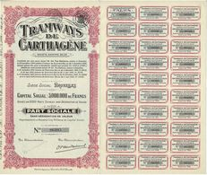 Titre Ancien - P.S. TRAMWAYS DE CARTHAGENE - Société Anonyme Belge - Titre De 1928 - Chemin De Fer & Tramway