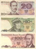 Pologne Poland : Série De 3 Billets : 20 (1982) + 50 (1988) + 100 (1988) Zlotych : BE UNC UNC - Polonia