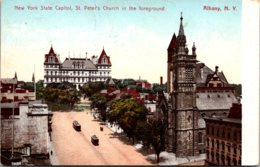 New York Albany State Capitol With St Peter's Church In Foreground 1907 - Albany