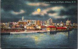 New York Albany Skyline At Night 1955 - Albany