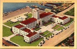 California San Diego Aerial View Of City Hall Civic Center Curteich - San Diego