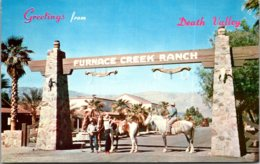 California Death Valley Greetings Showing Horseback Riders At Furnace Creek Ranch - Death Valley