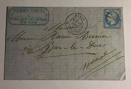 Lettre Affranchie à 20c En étoile De Paris N°11sur N°22 - 1849-1876: Période Classique
