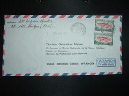 LETTRE TP POISSON CEPHALOPHOLIS TAENIOPS 25F Paire OBL.16-4 1975 ABIDJAN TRI - Costa D'Avorio (1960-...)