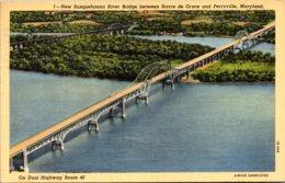 Maryland New Susqehanna River Bridge Between Havre De Grace And Perryville 1942 Curteich - Etats-Unis