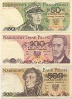 Pologne Poland : Série De 3 Billets : 50 (1988) + 100 (1986) + 500 (1982) Zlotych : TBE UNC BE - Polonia