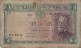 Portugal : 100 Escudos 1957 Très Mauvais état - Portugal