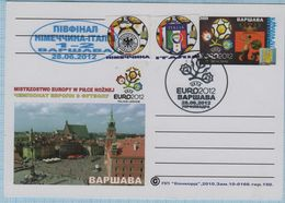 UKRAINE / Post Card / Poland / Football Soccer UEFA EURO 2012 Semifinal The Result Of The Match Germany - Italy. Warsaw - Ukraine