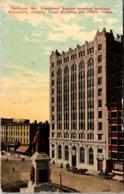 Maine Portland Monument Square Showing Soldiers Monument Fidelity Trust Building & Preble Building 1914 - Portland