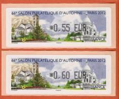 VIGNETTE LISA 1 - LOT DE 2 - VALEURS 0,55 Et 0,60 - 66e SALON PHILATELIQUE - PARIS 2012 - VISUEL 1 - NEUF - 2010-... Illustrated Franking Labels