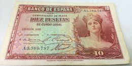Billete 10 Pesetas. 1935. República Española. Pre Guerra Civil. MBC - [ 2] 1931-1936 : Republic