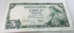 Billete 1954. 5 Pesetas. Rey Alfonso X. Estado Español. General Francisco Franco. España. MBC - [ 3] 1936-1975 : Regency Of Franco