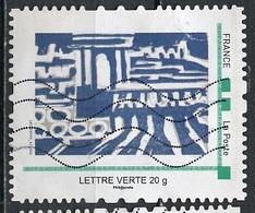 France - Frankreich Timbre Personnalisé 2010 Type ID67-07 (o) -   Lettre Verte 20g - œuvre Abstraite Bleue - France