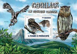 SAO TOME - 2015 - Rainforest Owls - Perf Souv Sheet - M N H - Sao Tome And Principe