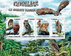 SAO TOME - 2015 - Rainforest Owls - Perf 4v Sheet - M N H - Sao Tome And Principe