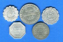 MARSEILLE  5  JETONS - Monétaires / De Nécessité