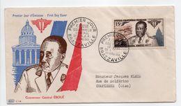 - FDC BRAZZAVILLE (A.E.F.) Pour COMPIÈGNE 30.4.1955 - Gouverneur Général ÉBOUÉ - Bel Affranchissement Philatélique - - A.E.F. (1936-1958)