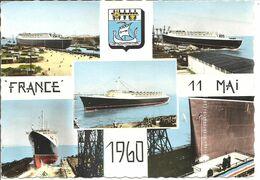 BATEAU - PAQUEBOT FRANCE - 11 Mai 1960 - Vues - Blason - Piroscafi