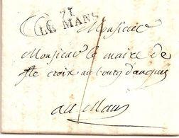 11I7  ---  72  LE MANS    Pour Le Mans   Taxe 1   1827 - Storia Postale