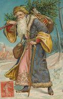 Santa Claus Embossed Père Noel Gaufrée  Robe Violette  Vers Chateau De Blanchamp Authon 41 - Santa Claus