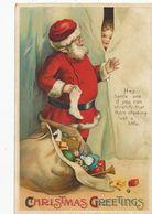 Santa Claus Embossed Père Noel Gaufrée  Robe Rouge Red  Robe . 2 Trous Ver . 2 Worm Holes - Kerstman