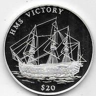 Libéria - 20 Dollars Bateau H.M.S. Victory En Argent - Liberia