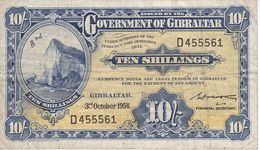 BILLETE DE GIBRALTAR DE 10 SHILLIGS DEL AÑO 1958  (BANKNOTE-BANK NOTE) RARO - Gibilterra