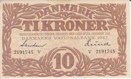 BILLETE DE DINAMARCA DE 10 KRONER DEL AÑO 1943 SIN CIRCULAR - UNCIRCULATED  (BANK NOTE) - Danimarca
