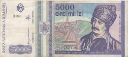 Roumanie Romania : 5000 Lei 1993 Moyen état - Rumänien