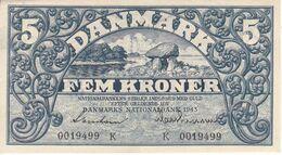 BILLETE DE DINAMARCA DE 5 KRONER DEL AÑO 1943 SIN CIRCULAR - UNCIRCULATED  (BANK NOTE) - Danimarca