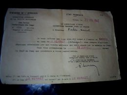 Vieux Papier état Français 1942 Certificat D'emploi De Gardien Au Camp Du Vernet  Ariège - Documentos Antiguos