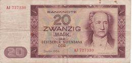 BILLETE DE ALEMANIA  DDR DE 20 MARK  DEL AÑO 1964  (BANK NOTE) - [ 6] 1949-1990 : RDA - Rep. Dem. Tedesca