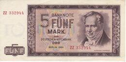 BILLETE DE ALEMANIA  DDR DE 5 MARK  DEL AÑO 1964 CALIDAD EBC (XF)  (BANK NOTE) - 5 Mark