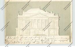 H 1011 BUDAPEST, Volkstheater, Halt Gegen Licht / Hold To Light, 1900, Hinterklebt - Hongrie
