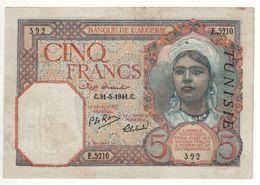 TUNISIA 5  Francs    P8b     Dated 31--5-1941 - Tunisia