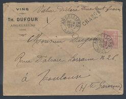 98 Sage Seul Tarif 50c VD Valeur Déclarée 200F Argelliers Aude 1897 Type A2 Vins Dufour Pour Toulouse - Postmark Collection (Covers)