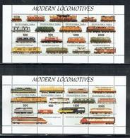 Tuva 1996 Modern Locomotives Sheetlets X 2 Unmounted Mint - Touva