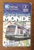 PARIS RATP RER TRAIN INTERCALL 5 FRANCS EXP LE 30/06/2000 CARD CARTE PRÉPAYÉE PRÉPAID PHONECARD - Eisenbahnen