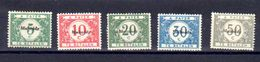 Belgique 1920, Timbres Taxes, De 1919 Surchargés «Malmédy», OC 79 / 83*, Cote 55 € - [OC55/105] Eupen/Malmédy